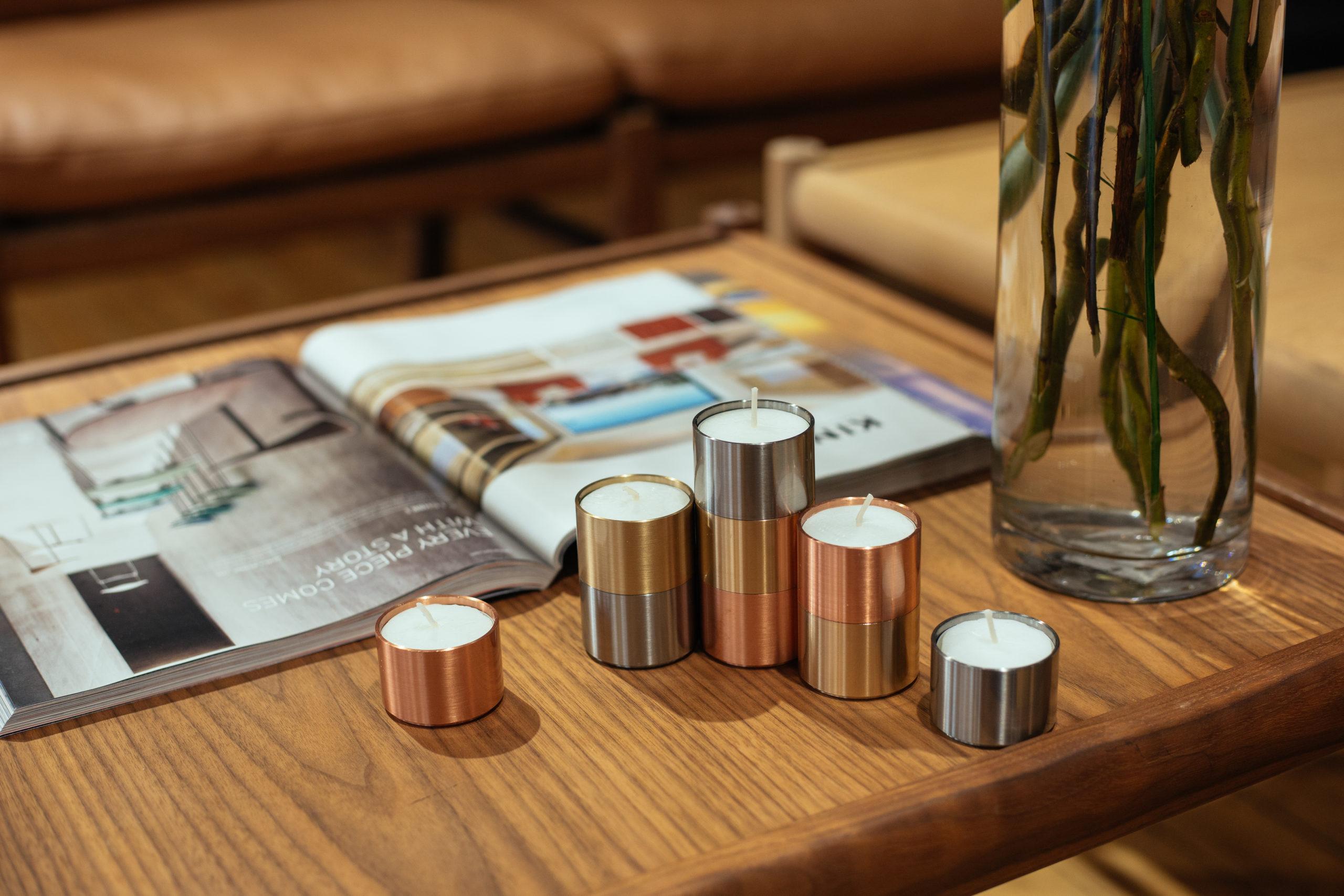 ARCHITECTMADE Trepas Copper Brass Stainless Steel Candleholder Denmark Peter Karpf