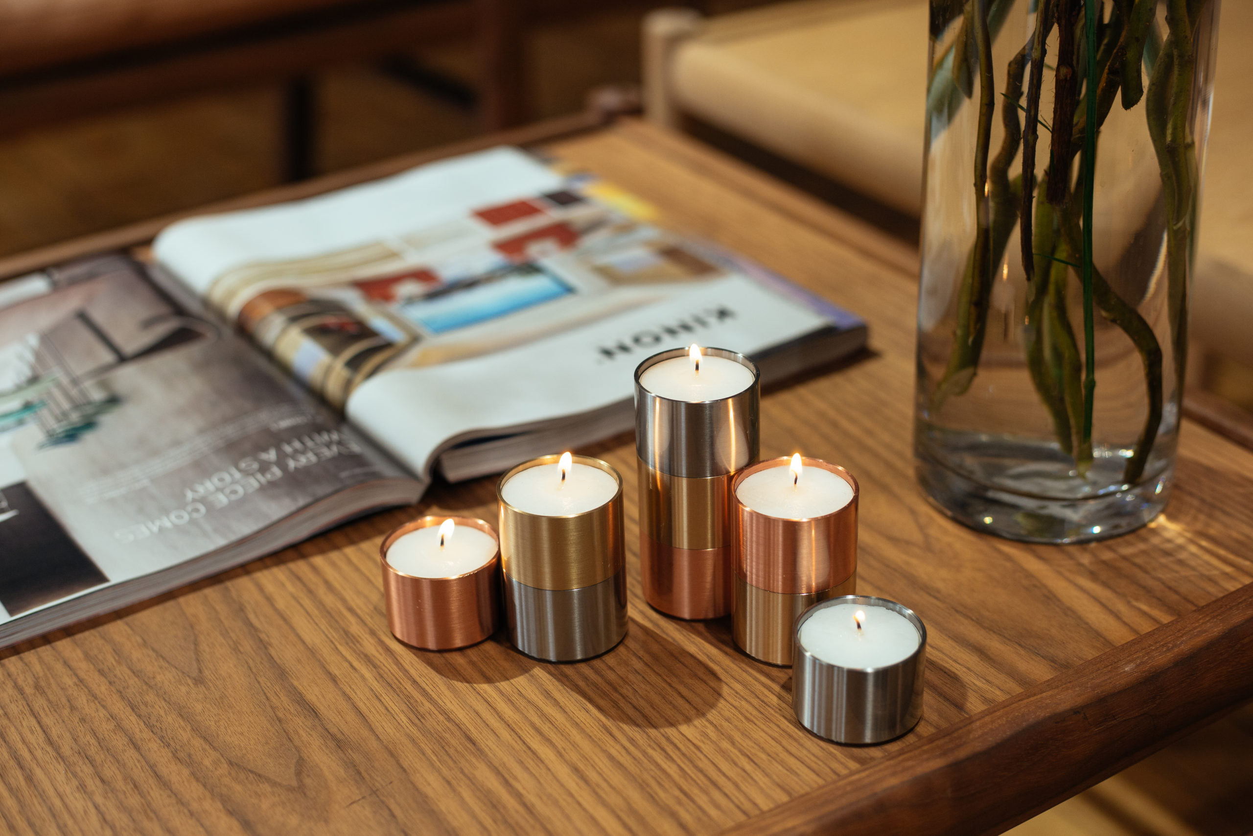 ARCHITECTMADE Trepas Copper Brass Stainless Steel Candleholder Denmark Peter Karpf